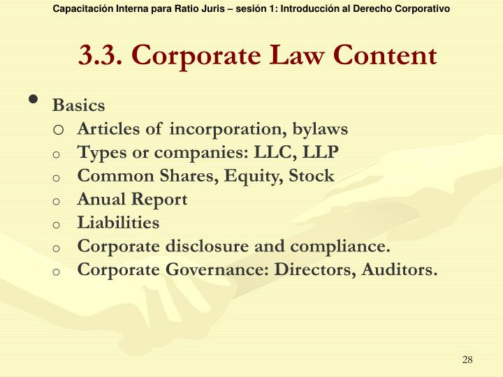 3.3. Corporate Law Content