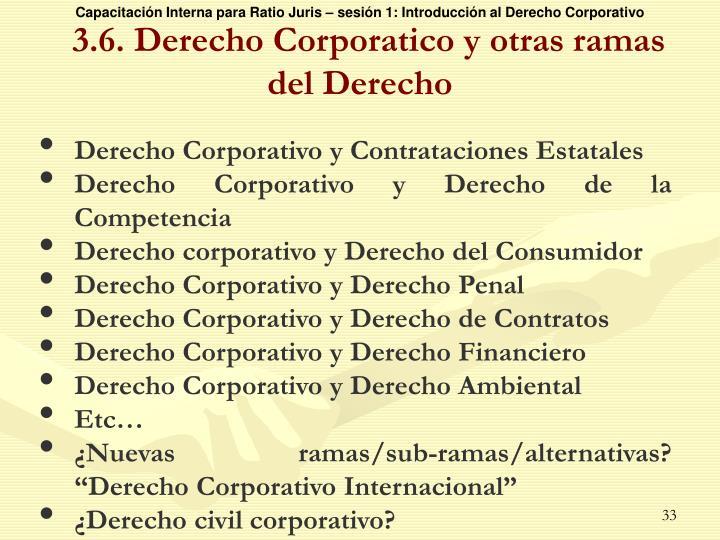 3.6. Derecho Corporatico y otras ramas del Derecho