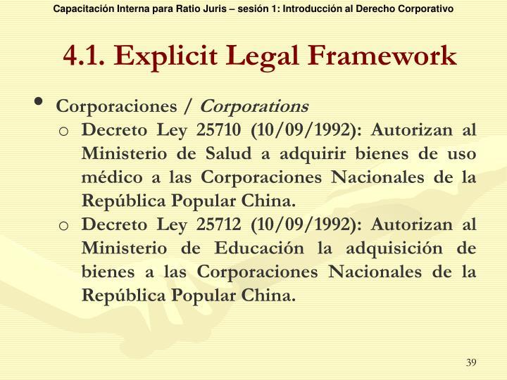 4.1. Explicit Legal Framework