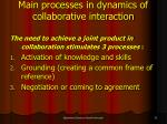 main processes in dynamics of collaborative interaction