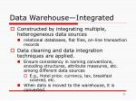 data warehouse integrated