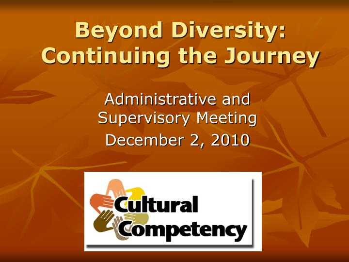 beyond diversity continuing the journey n.