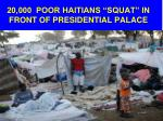 20 000 poor haitians squat in front of presidential palace