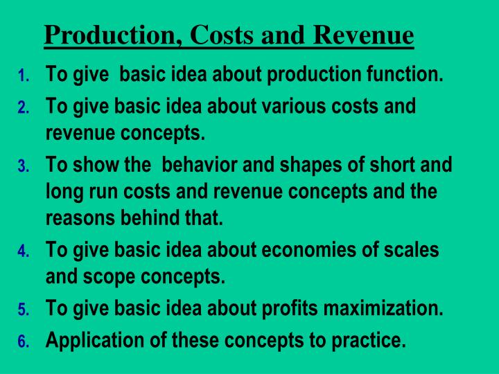 production cost revenue n.