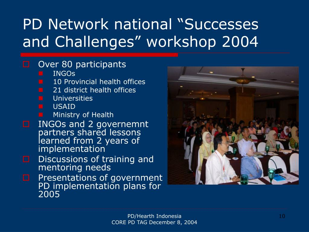 """PD Network national """"Successes and Challenges"""" workshop 2004"""