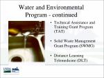water and environmental program continued