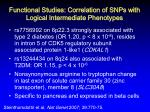 functional studies correlation of snps with logical intermediate phenotypes