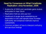 need for consensus on what constitutes replication circa november 2006