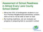 assessment of school readiness in almost every lane county school district