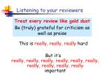 listening to your reviewers