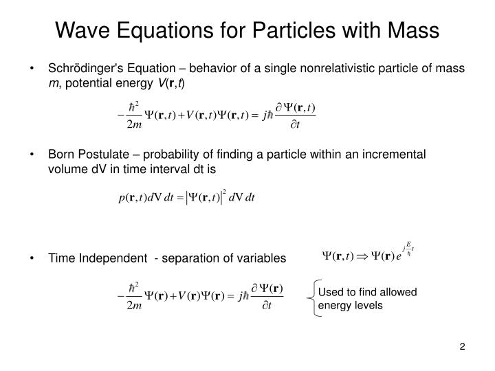 Wave equations for particles with mass