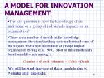 a model for innovation management1