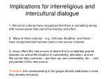 implications for interreligious and intercultural dialogue