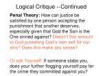 logical critique continued