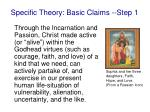 specific theory basic claims step 1