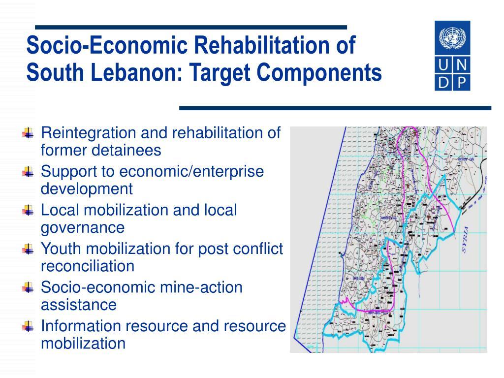 Socio-Economic Rehabilitation of South Lebanon: Target Components