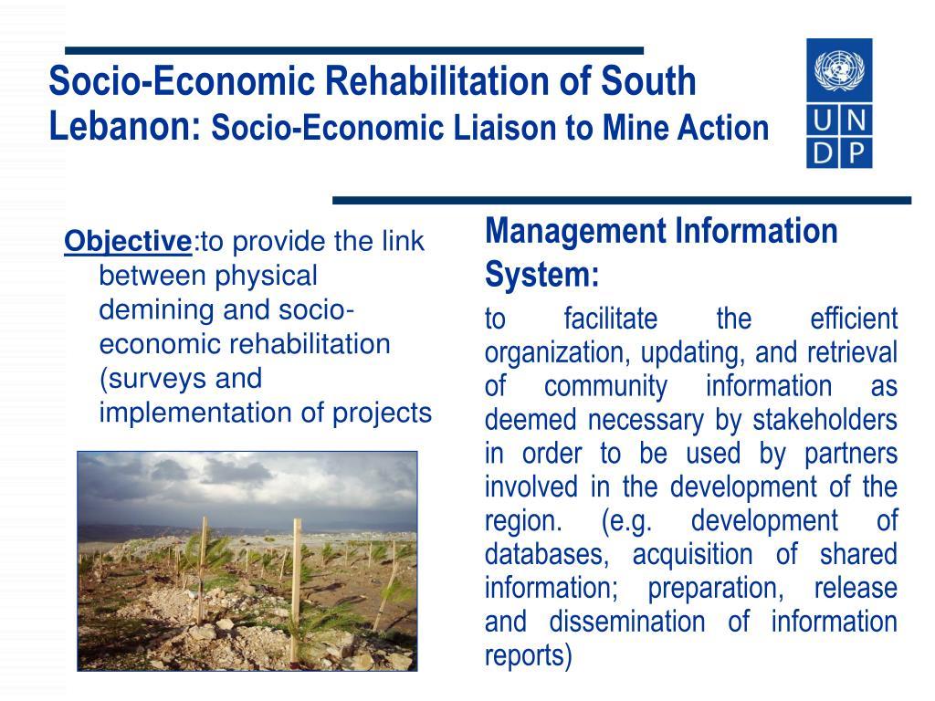 Socio-Economic Rehabilitation of South Lebanon: