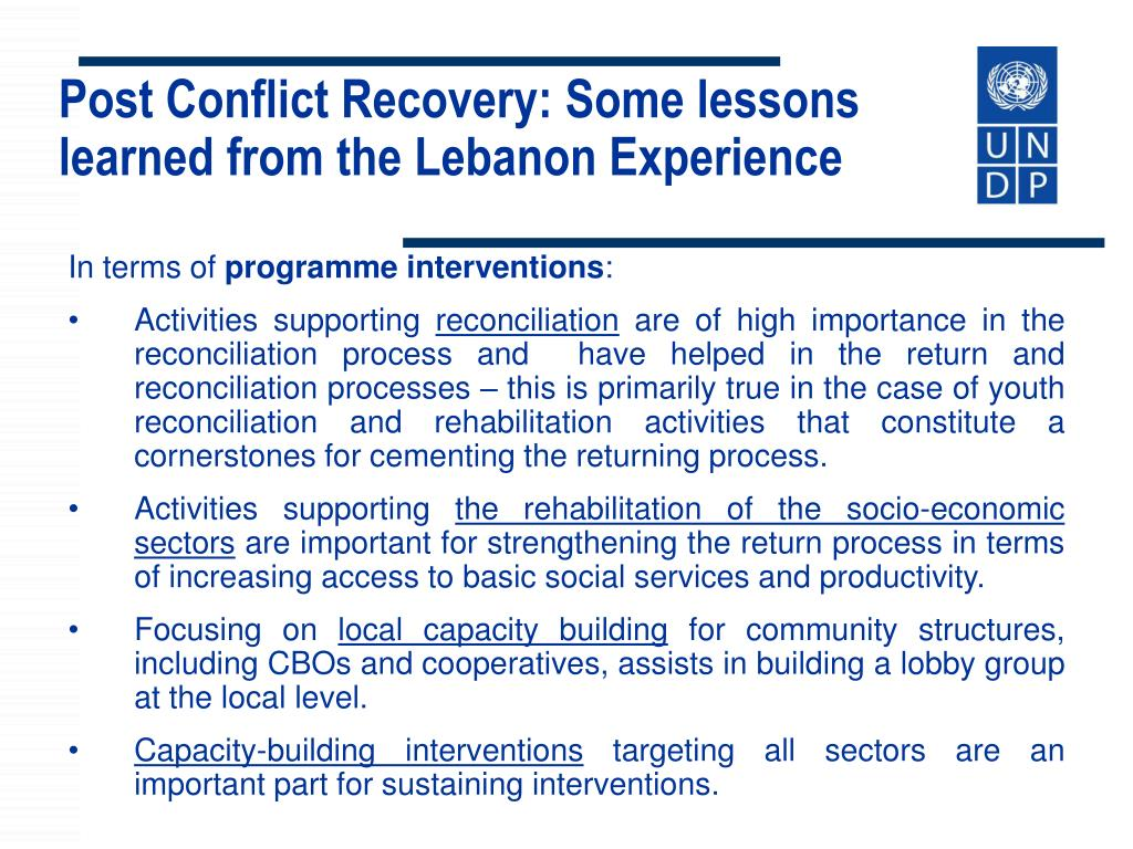 Post Conflict Recovery: