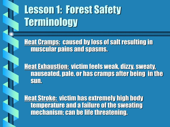 Lesson 1:  Forest Safety Terminology