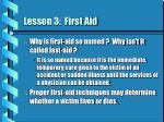 lesson 3 first aid