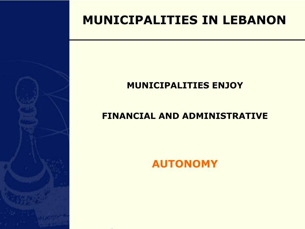 MUNICIPALITIES IN LEBANON