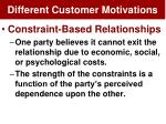 different customer motivations