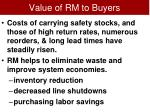 value of rm to buyers