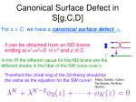 canonical surface defect in s g c d