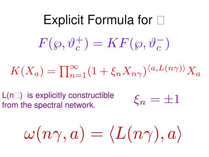 Explicit Formula for