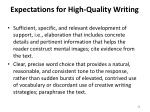 expectations for high quality writing