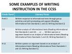 some examples of writing instruction in the ccss