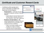 certificate and customer reward cards