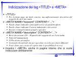 indicizzazione dei tag title e meta