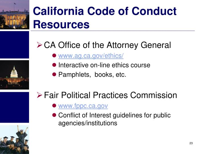 California Code of Conduct Resources