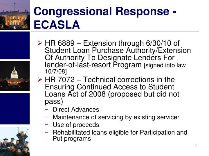 Congressional Response - ECASLA