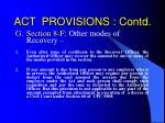 act provisions contd16