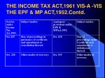 the income tax act 1961 vis a vis the epf mp act 1952 contd
