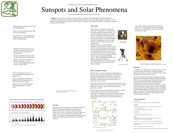 sunspots and solar phenomena jake sarrantonio eddie janicki john samson jon germano n.