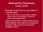 rational for treatment nature of bite