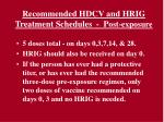 recommended hdcv and hrig treatment schedules p ost exposure