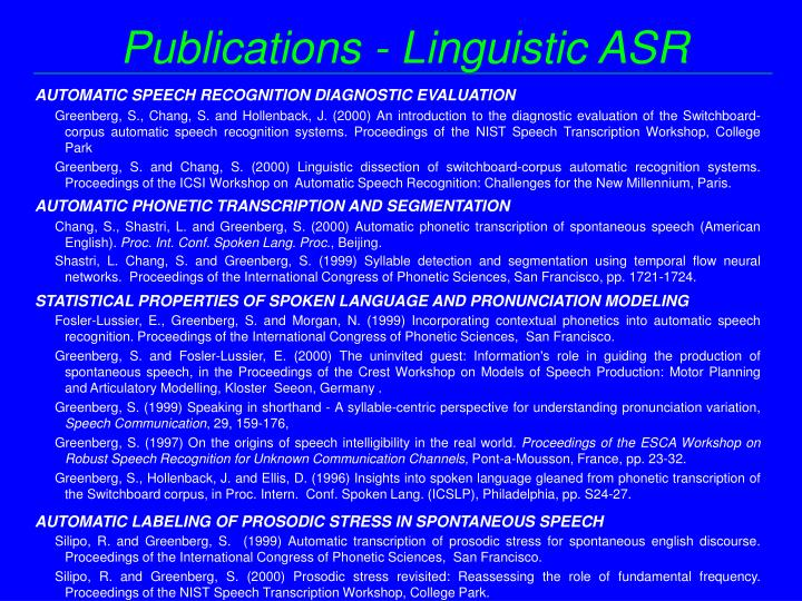 Publications - Linguistic ASR