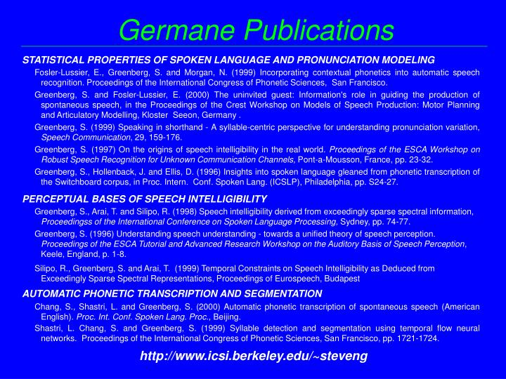 Germane Publications