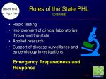 roles of the state phl continued