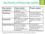key factors of bioenergy uptake