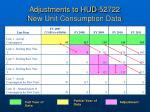adjustments to hud 52722 new unit consumption data