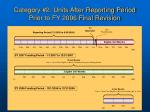 category 2 units after reporting period prior to fy 2006 final revision