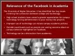 relevance of the facebook in academia