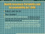 health insurance portability and accountability act 1996