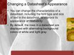 changing a datasheet s appearance