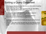 sorting a query datasheet